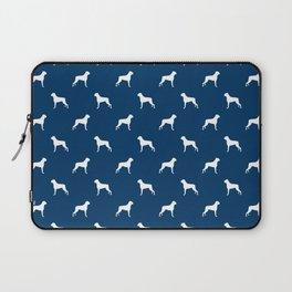 Boxer dog breed pattern dog gifts navy and white minimal dog silhouette Laptop Sleeve