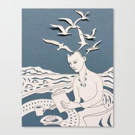 Fan art: woman reading by sea of sharks Canvas Print