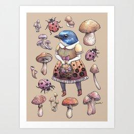 Mushroom Pickers - Lady Blue Art Print