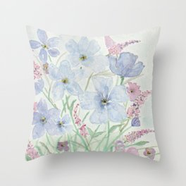 Lavender and Blue Watercolor Wildflowers Throw Pillow
