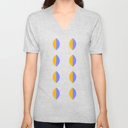 Leaf minimal modernist pattern - purple and yellow Unisex V-Neck