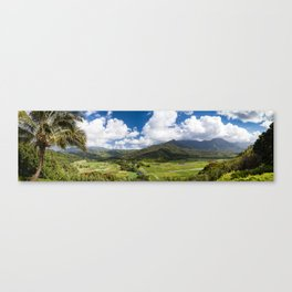Panoramic photograph of Hanalei Valley's taro fields in Kauai, Hawaii Canvas Print