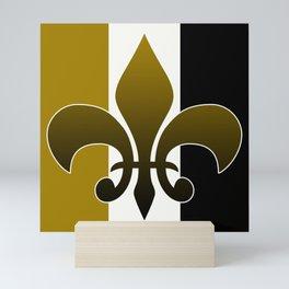 Black and gold fleur de lis Mini Art Print