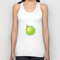 tennis Tank Tops featuring Tennis bug by Migar