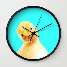 Duckling Portrait Turquoise Background Wall Clock
