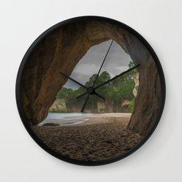 Dawn at Cathedral Cove 2 Wall Clock