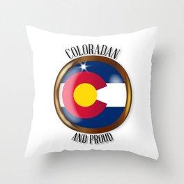 Colorado Proud Flag Button Throw Pillow