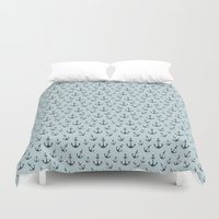 anchors Duvet Covers featuring Nautical Anchors by Zen and Chic
