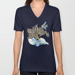 Indigo Ocean Sea Shells Angelfish Coral Watercolor Artwork Unisex V-Neck