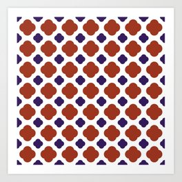 QUATREFOIL, RED AND BLUE Art Print