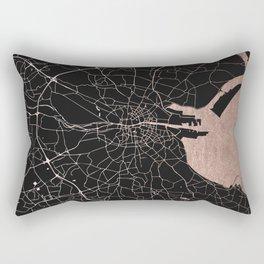 Black on Rosegold Dublin Street Map Rectangular Pillow