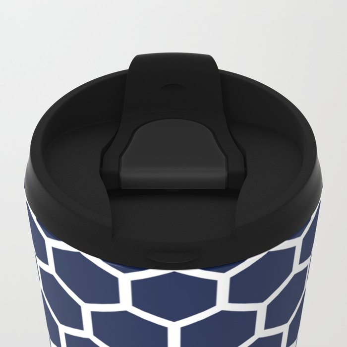 Indigo Navy Blue Honeycomb Metal Travel Mug