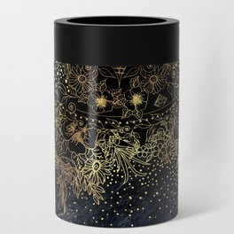 Stylish Gold floral mandala and confetti Can Cooler