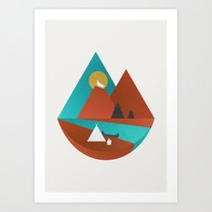 Tipi by the River Art Print
