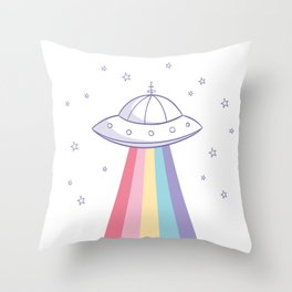 Colorful rainbow space ufo Throw Pillow