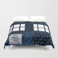 tardis Duvet Covers featuring Tardis by Rebecca Bear