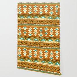 Native Aztec Brown Arrowhead Tribal Rug Pattern Wallpaper