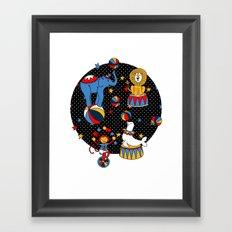 Little Circus Stars on Black Framed Art Print
