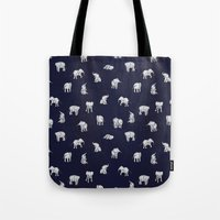 indian Tote Bags featuring Indian Baby Elephants in Navy by Estelle F