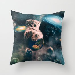 Space Puss saves the World Throw Pillow