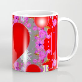 Grey Red Hearts Valentines & Pink Flowers Patterns Coffee Mug
