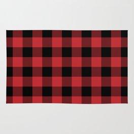 Red and Black Buffalo Plaid Lumberjack Rustic Rug