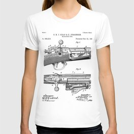 Bolt Action Rifle Patent - Repeating Receiver Art - Black And White T-shirt