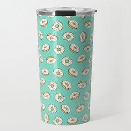 Rainbow Sprinkle Donuts on Aqua Travel Mug