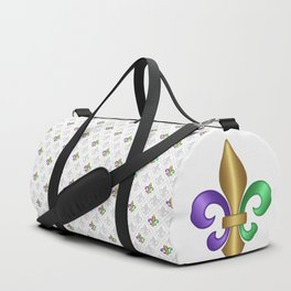 Purple Green and Gold Fleur-de-Lis on Gray Pattern Duffle Bag