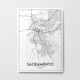 Minimal City Maps - Map Of Sacramento, California, United States Metal Print