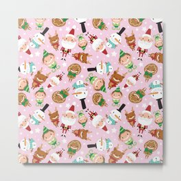 Christmas Crew - Pink - Scattered Metal Print