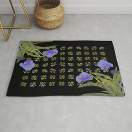 Atom Flowers #34 in purple and green Rug