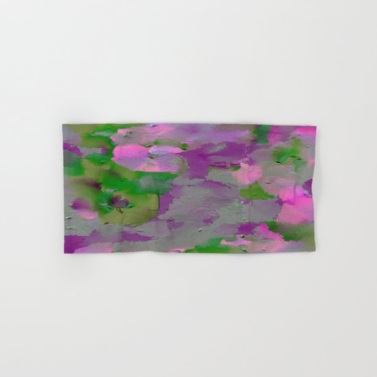 Raw Paint 1 - Purple And Green Hand & Bath Towel