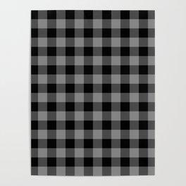Gray and Black Lumberjack Buffalo Plaid Fabric Poster