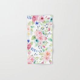 Blush pink watercolor elegant roses floral Hand & Bath Towel