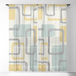 Mid Century Modern Abstract Squares Pattern 453 Sheer Curtain