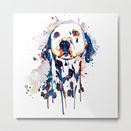 Dalmatian Head Watercolor Portrait Metal Print