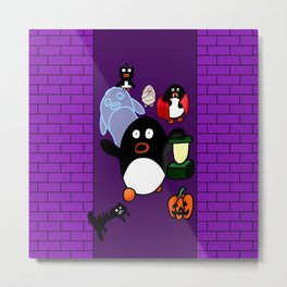 Halloween Penguins Metal Print