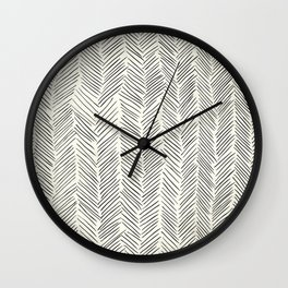 Herringbone Black on Cream Wall Clock