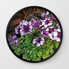 Poly Petunias Wall Clock
