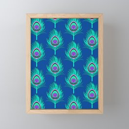 Peacock Feathers, Aqua on Deep Cobalt Blue Framed Mini Art Print