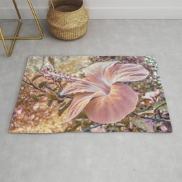 Fantasy Colors Hibiscus Flower Digital Photography Rug