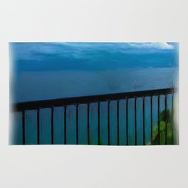 view of the infinite blue sea oil painting Rug