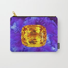Golden Topaz Gems & Amethyst-Ultra-Violet Purple Color Carry-All Pouch