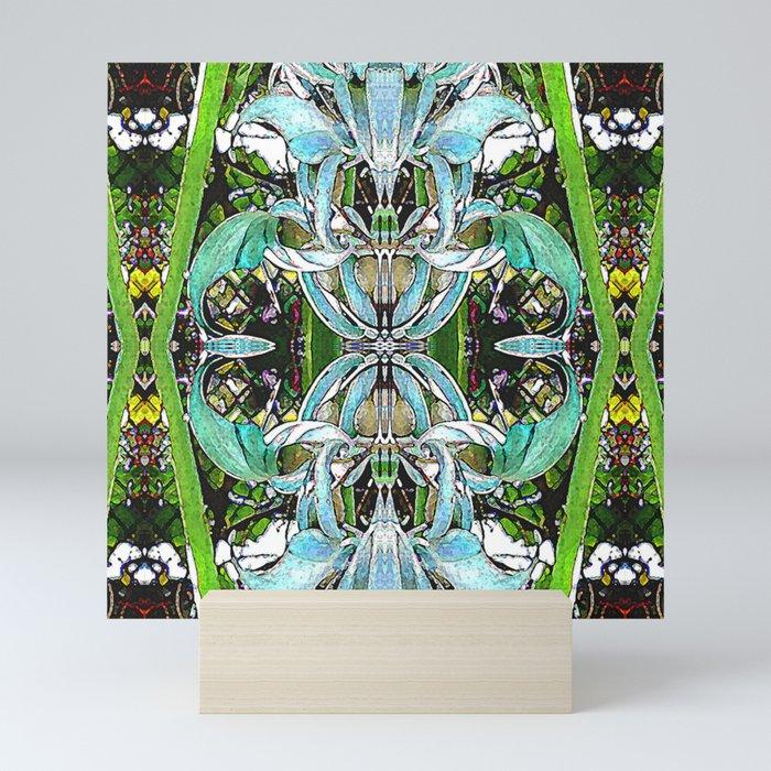 Jade Hearts Stained Glass Patten Mini Art Print
