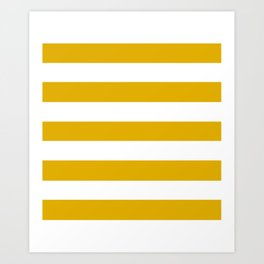 Mustard yellow - solid color - white stripes pattern Art Print