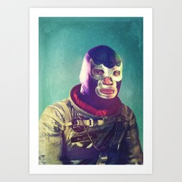 Luna Luchador Art Print