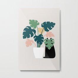 Cat and Plant 21: Leaf Me Alone Metal Print