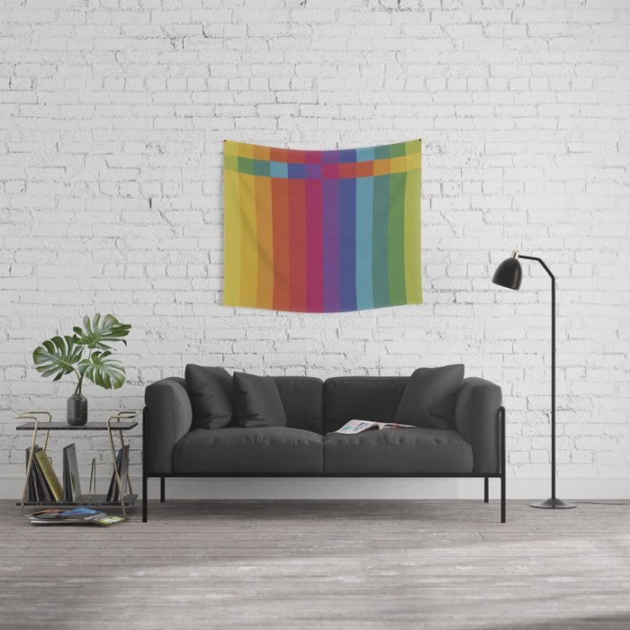 The Color Wheel / Rainbow Stripes Wall Tapestry