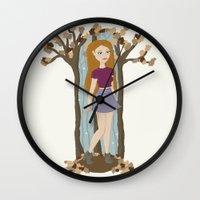 lydia martin Wall Clocks featuring Autumn Lydia by tashaliz